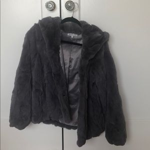 Heartloom grey hooded rabbit fur coat
